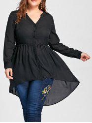 V Neck High Low Plus Size Tunic Blouse - BLACK XL
