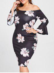 Plus Size Off Shoulder Flower Print Tight Dress -