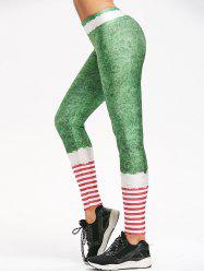 Striped Belt Print Christmas Leggings -