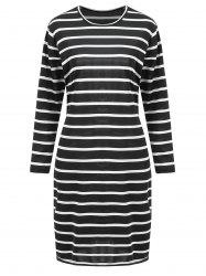 Plus Size Knee Length Striped Tunic Fitted Dress -