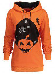 Plus Size Kangaroo Pocket Halloween Pumpkin Hoodie -