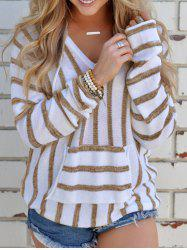 V Neck Striped Sweater with Pocket -