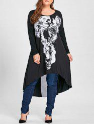 Halloween Plus Size Asymmetric Mesh Panel Skulls T-shirt -