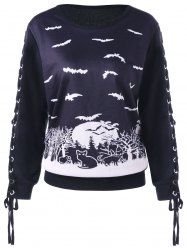 Sweat-shirt imprimé à lacets Halloween -