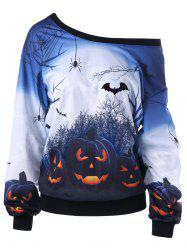 Halloween Pumpkin Print Plus Size Sweatshirt -