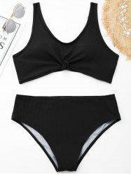 Ribbed Knotted Plus Size Swimwear -