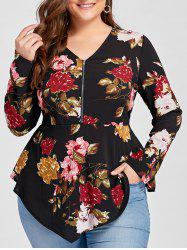 Plus Size Asymmetric Half Zipper Floral Long Sleeve Blouse -