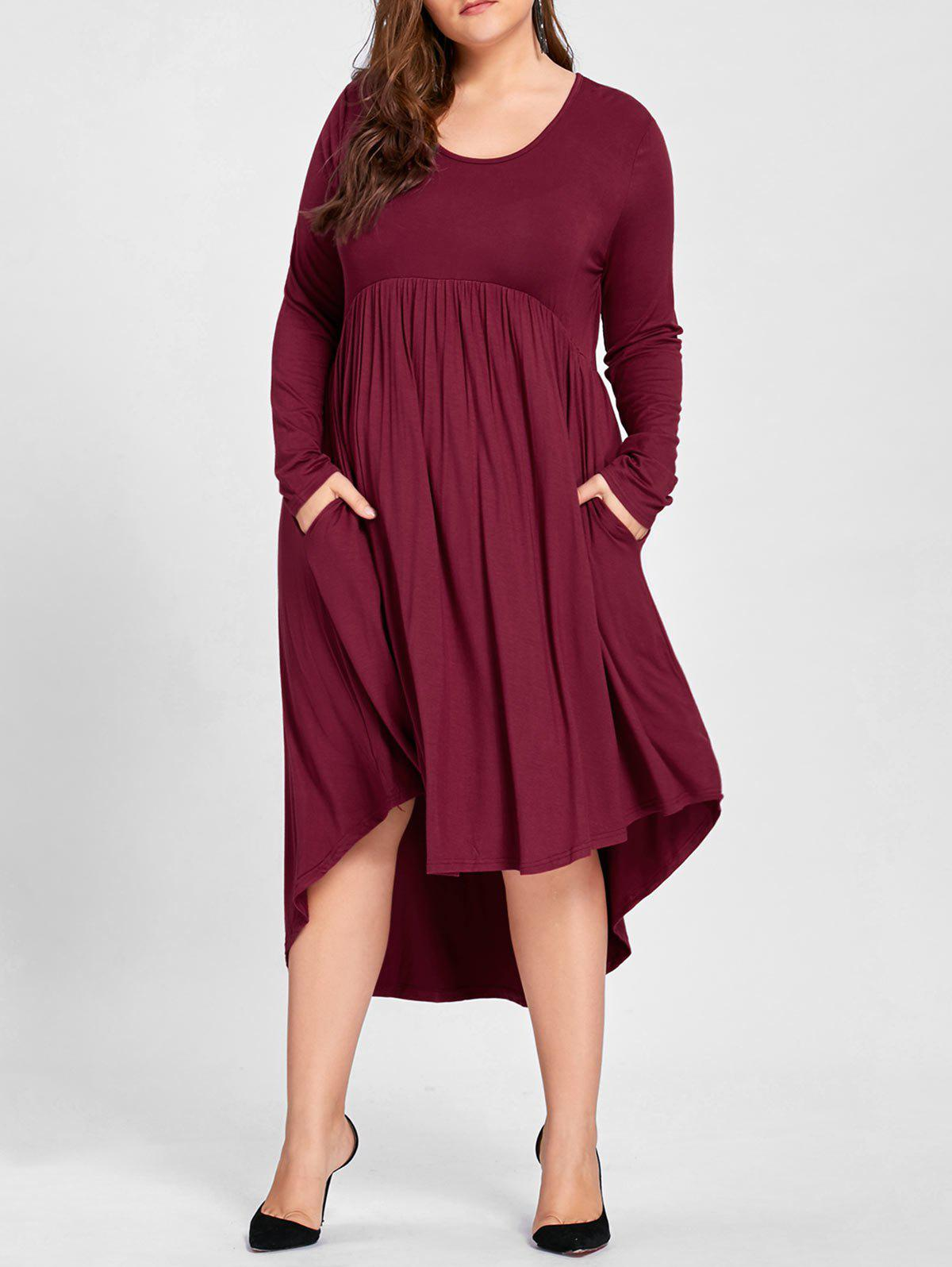 Plus Size Empire Waist High Low T Shirt DressWOMEN<br><br>Size: 3XL; Color: CLARET; Style: Casual; Material: Cotton,Polyester; Silhouette: Asymmetrical; Dresses Length: Mid-Calf; Neckline: Round Collar; Sleeve Length: Long Sleeves; Pattern Type: Solid; With Belt: No; Season: Fall; Weight: 0.5000kg; Package Contents: 1 x Dress;
