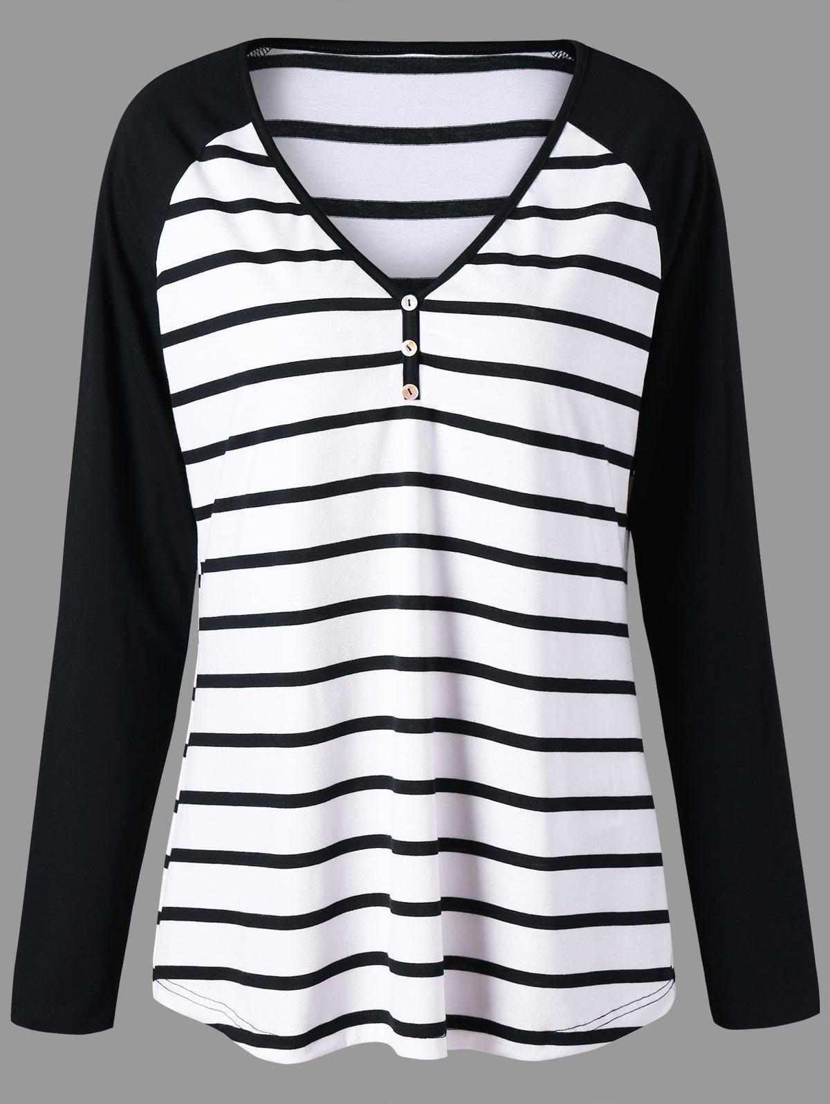 Plus Size Striped Raglan Sleeve TopWOMEN<br><br>Size: 2XL; Color: BLACK STRIPE; Material: Polyester,Spandex; Shirt Length: Long; Sleeve Length: Full; Collar: V-Neck; Style: Casual; Season: Fall,Spring; Pattern Type: Striped; Weight: 0.2700kg; Package Contents: 1 x Top;