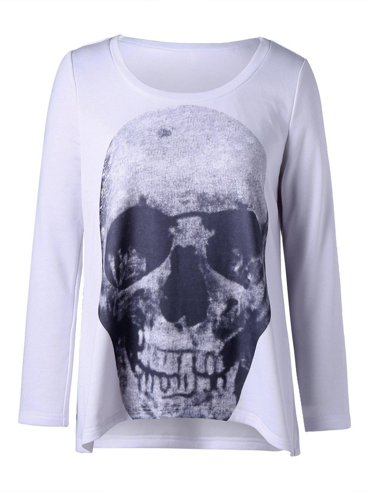 Plus Size Skull Long Sleeve T-shirt 220518505