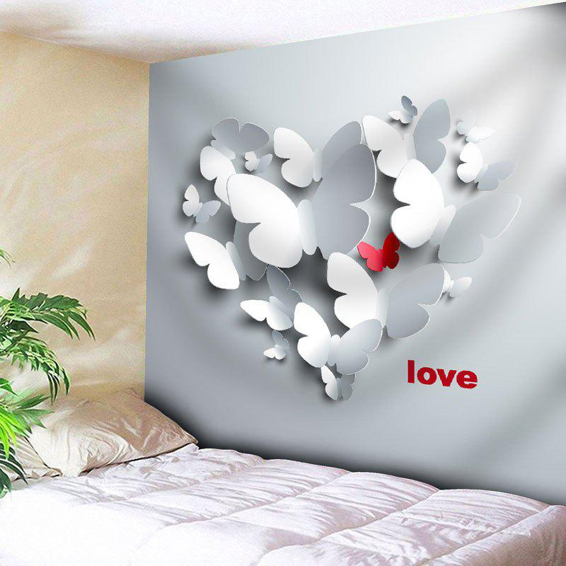 Love Butterfly Printed Wall TapestryHOME<br><br>Size: W79 INCH * L59 INCH; Color: GREY WHITE; Style: Novelty; Material: Cotton,Polyester; Feature: Removable,Washable; Shape/Pattern: Insect,Letter; Weight: 0.2900kg; Package Contents: 1 x Tapestry;