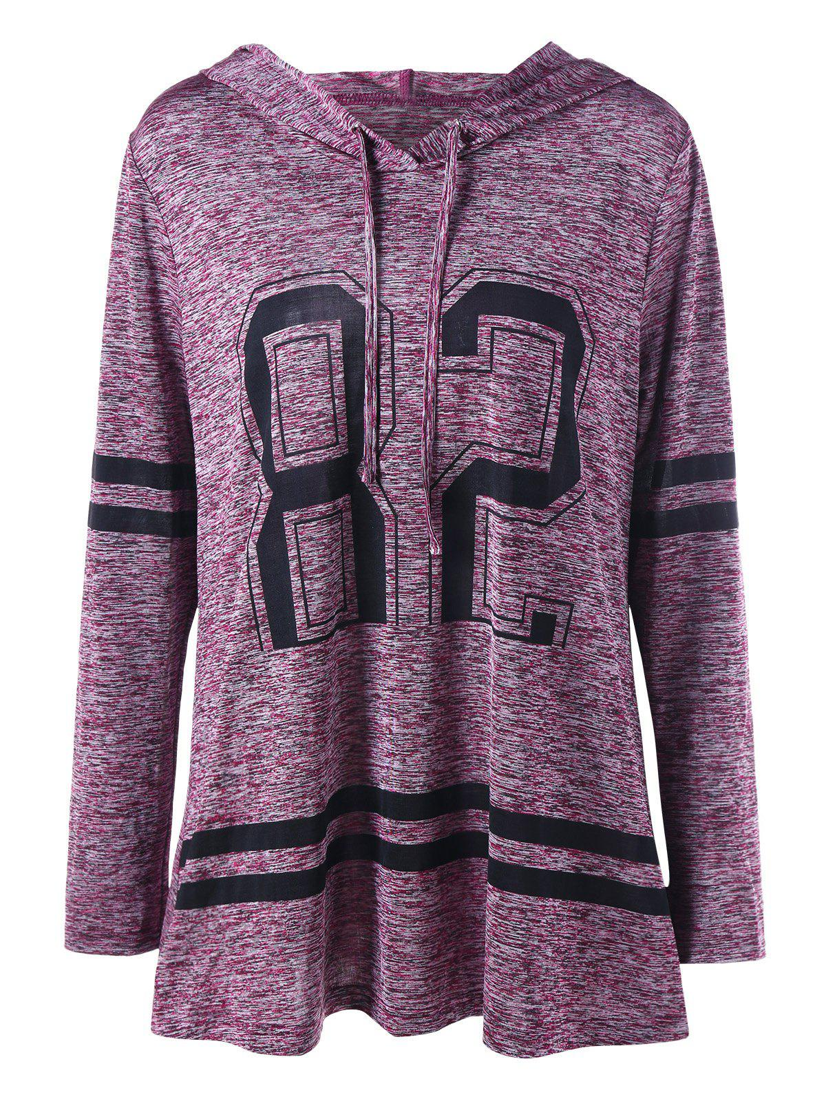 Plus Size Graphic Marled Tunic HoodieWOMEN<br><br>Size: 4XL; Color: PURPLISH RED; Material: Polyester,Spandex; Shirt Length: Long; Sleeve Length: Full; Style: Casual; Pattern Style: Others; Season: Fall,Spring; Weight: 0.3100kg; Package Contents: 1 x Hoodie;