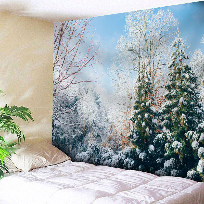 Wall Hanging Snowscape Print TapestryHOME<br><br>Size: W91 INCH * L71 INCH; Color: COLORMIX; Style: Natural; Theme: Landscape; Material: Nylon,Polyester; Feature: Removable,Washable; Shape/Pattern: Snow,Tree; Weight: 0.3750kg; Package Contents: 1 x Tapestry;