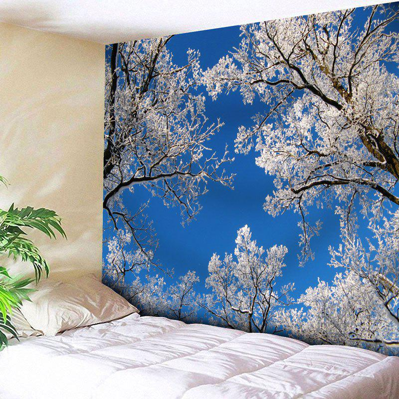 Wall Hanging Sky Tree Branch TapestryHOME<br><br>Size: W91 INCH * L71 INCH; Color: BLUE; Style: Natural; Theme: Landscape; Material: Nylon,Polyester; Feature: Removable,Washable; Shape/Pattern: Tree; Weight: 0.3750kg; Package Contents: 1 x Tapestry;