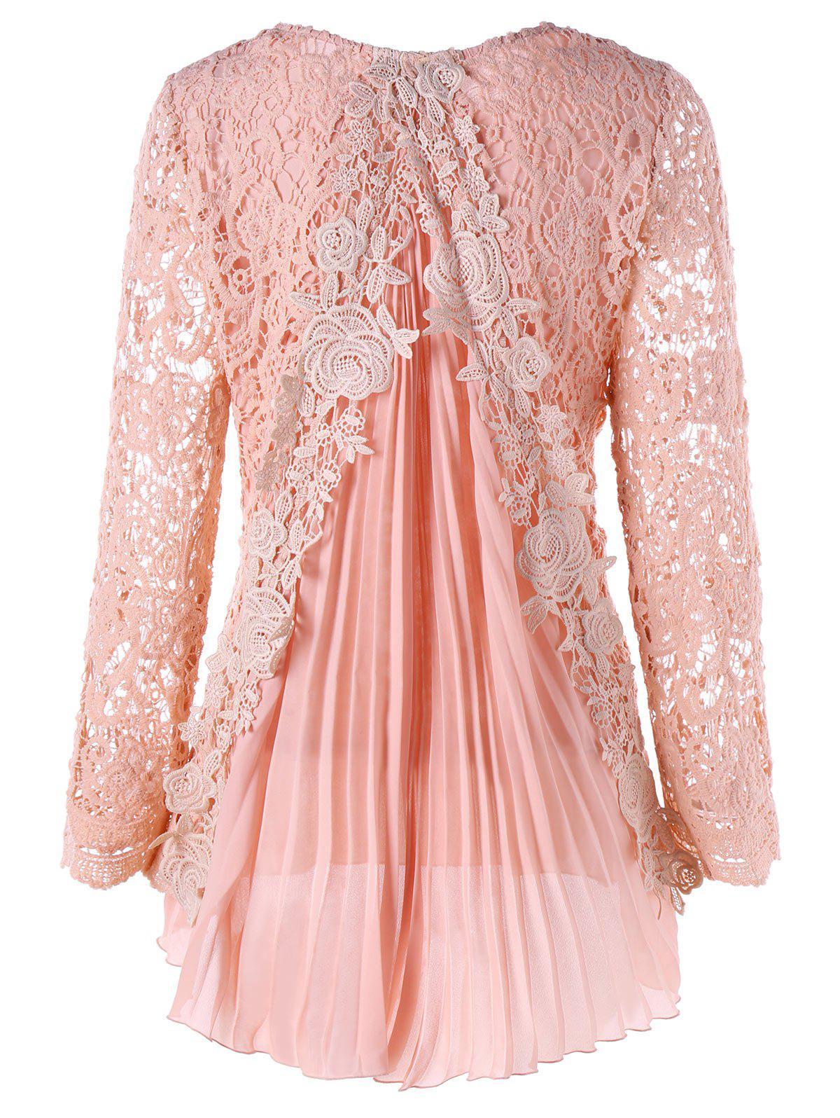 Plus Size High Low Lace Mini Pleated DressWOMEN<br><br>Size: 5XL; Color: PINK; Style: Brief; Material: Polyester; Silhouette: Asymmetrical; Dresses Length: Mini; Neckline: Round Collar; Sleeve Length: Long Sleeves; Pattern Type: Patchwork,Solid Color; With Belt: No; Season: Fall,Spring; Weight: 0.4500kg; Package Contents: 1 x Dress;