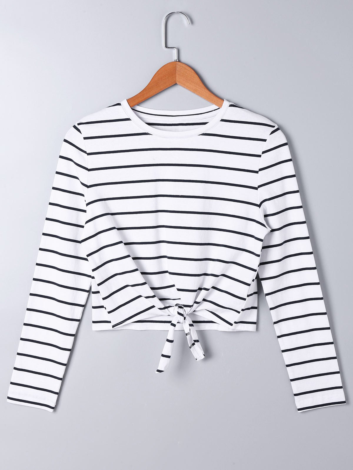 Online Front Knot Long Sleeve Striped Top