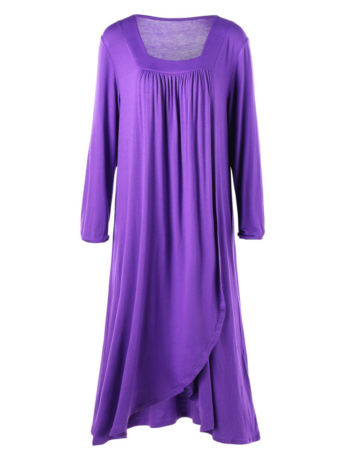 purple 2xl plus size midi surplice t shirt dress