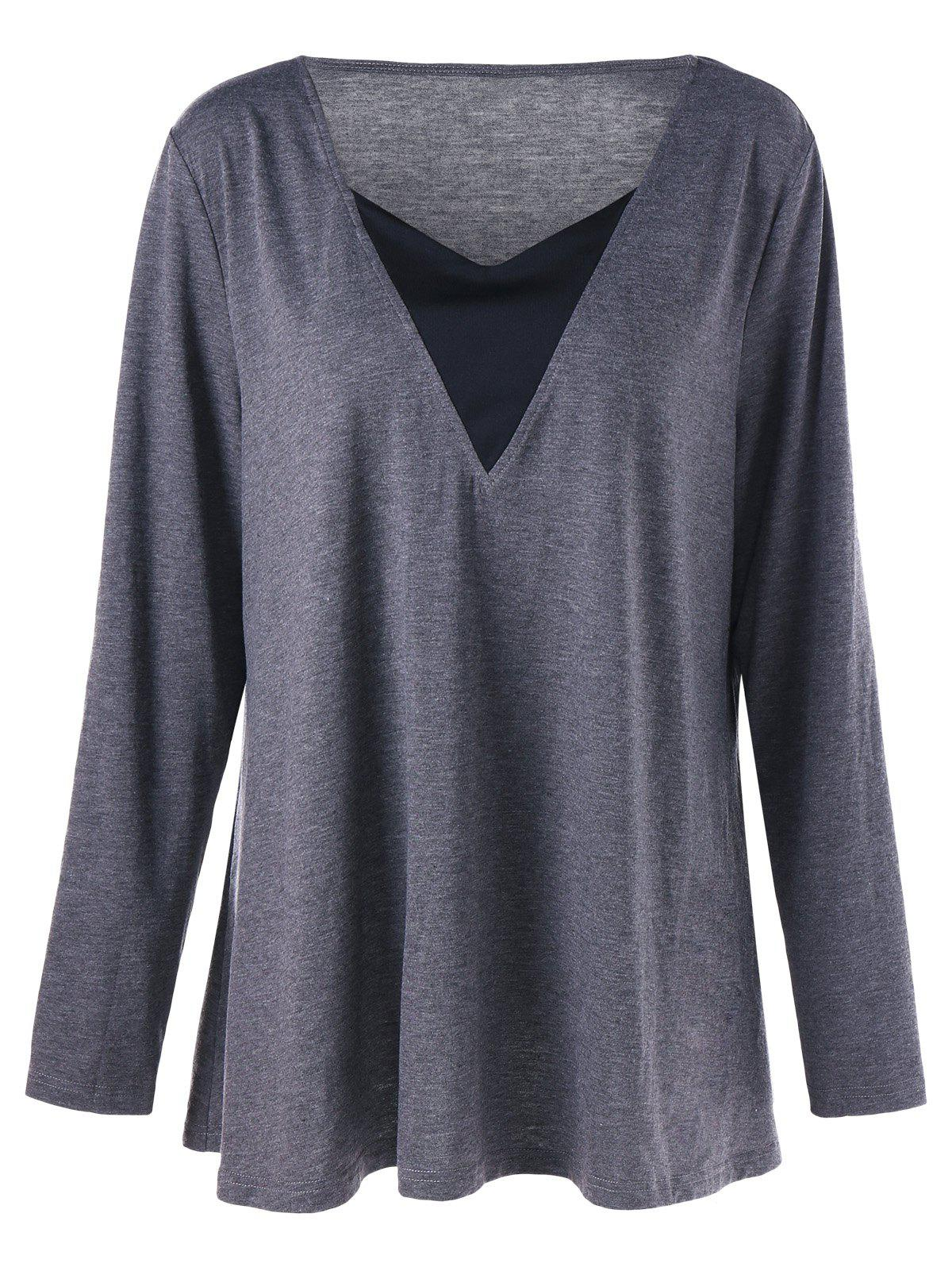 V Neck Long Sleeve Plus Size Tunic T-shirtWOMEN<br><br>Size: 5XL; Color: GRAY; Material: Polyester,Spandex; Shirt Length: Regular; Sleeve Length: Full; Collar: V-Neck; Style: Fashion; Season: Fall,Spring; Pattern Type: Patchwork; Weight: 0.3200kg; Package Contents: 1 x T-shirt;