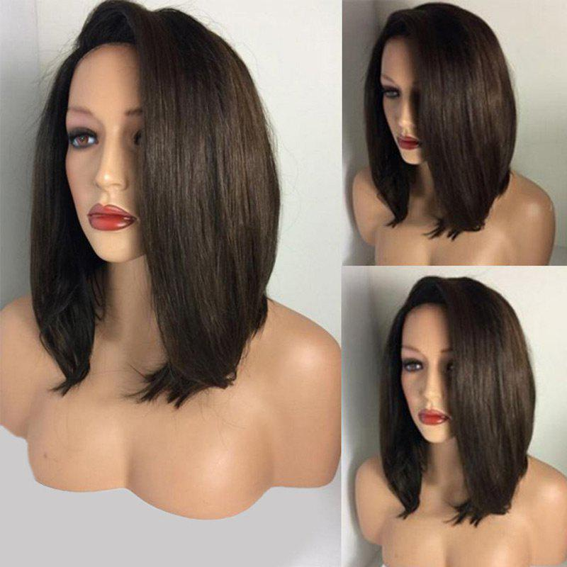 Medium Deep Side Parting Straight Bob Synthetic WigHAIR<br><br>Color: BROWN; Type: Full Wigs; Cap Construction: Capless; Style: Bob; Material: Synthetic Hair; Bang Type: Deep Part; Length: Medium; Length Size(CM): 35; Weight: 0.2200kg; Package Contents: 1 x Wig;