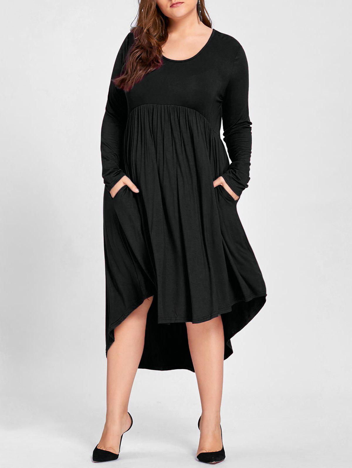 Plus Size Empire Waist High Low T Shirt DressWOMEN<br><br>Size: 4XL; Color: BLACK; Style: Casual; Material: Cotton,Polyester; Silhouette: Asymmetrical; Dresses Length: Mid-Calf; Neckline: Round Collar; Sleeve Length: Long Sleeves; Pattern Type: Solid; With Belt: No; Season: Fall; Weight: 0.5000kg; Package Contents: 1 x Dress;