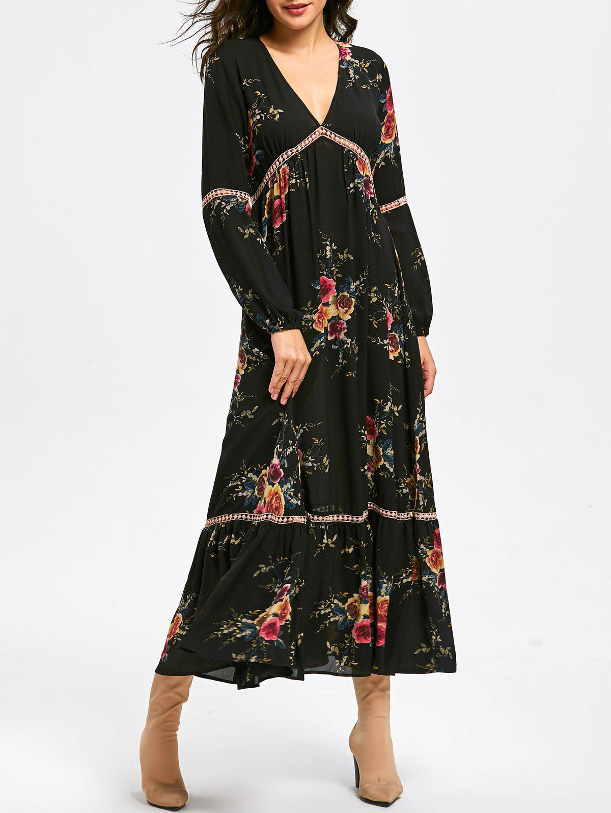 Empire Waist Floral Print Maxi DressWOMEN<br><br>Size: L; Color: BLACK; Style: Casual; Material: Polyester; Silhouette: A-Line; Dresses Length: Ankle-Length; Neckline: V-Neck; Sleeve Type: Cuff Sleeve; Sleeve Length: Long Sleeves; Waist: Empire; Embellishment: Lace; Pattern Type: Floral,Print; With Belt: No; Season: Fall,Spring,Winter; Weight: 0.4500kg; Package Contents: 1 x Dress;