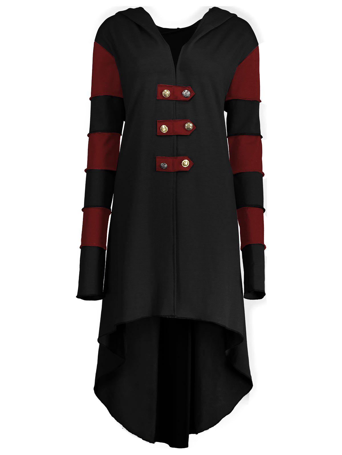 Hooded Plus Size Lace-up High Low  CoatWOMEN<br><br>Size: 2XL; Color: BLACK&amp;RED; Clothes Type: Others; Material: Polyester,Spandex; Type: Asymmetric Length; Shirt Length: Long; Sleeve Length: Full; Collar: Hooded; Pattern Type: Others; Style: Fashion; Season: Fall,Winter; Weight: 0.6200kg; Package Contents: 1 x Coat;