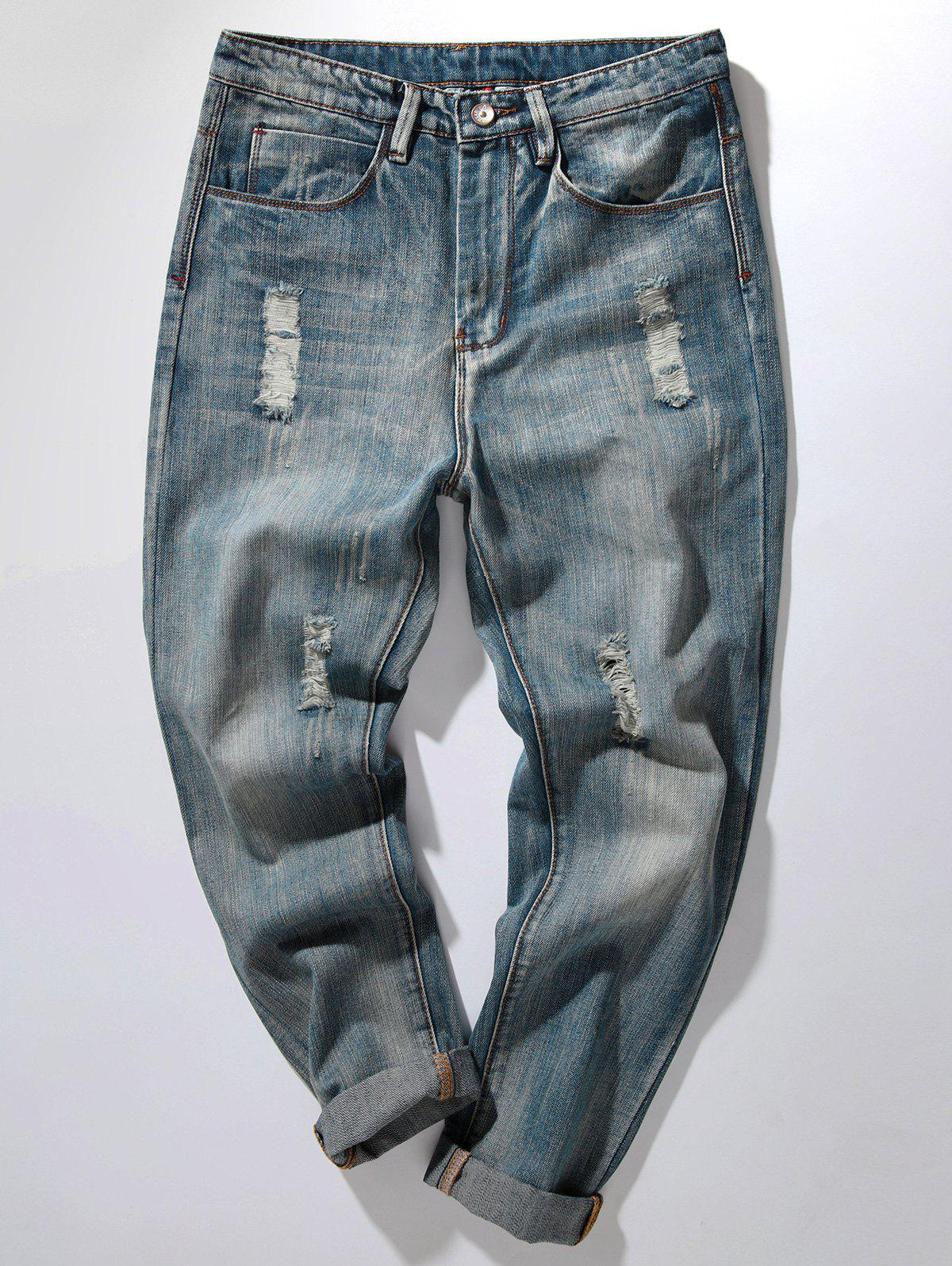 Discount Bleach Wash Distressed Harem Jeans