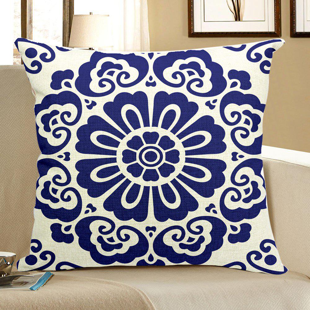 Bohemian Geometric Figure Printed Square Pillow CaseHOME<br><br>Size: W18 INCH * L18 INCH; Color: BLUE; Material: Linen; Pattern: Geometric; Style: Festival; Shape: Square; Weight: 0.0800kg; Package Contents: 1 x Pillow Case;