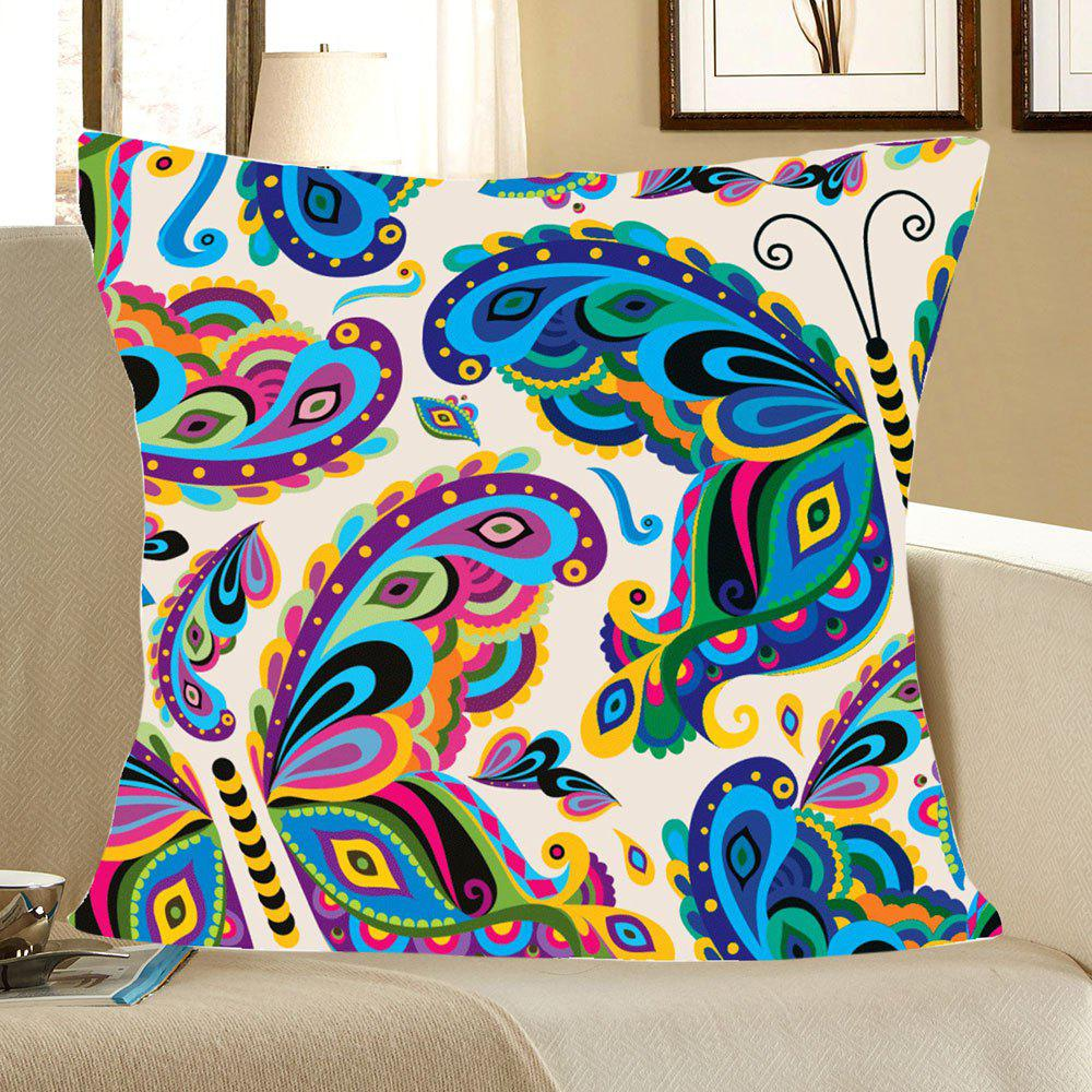 Colorful Butterfly Printed Square Pillow CaseHOME<br><br>Size: W18 INCH * L18 INCH; Color: COLORFUL; Material: Linen; Pattern: Animal; Style: Trendy; Shape: Square; Weight: 0.0800kg; Package Contents: 1 x Pillow Case;