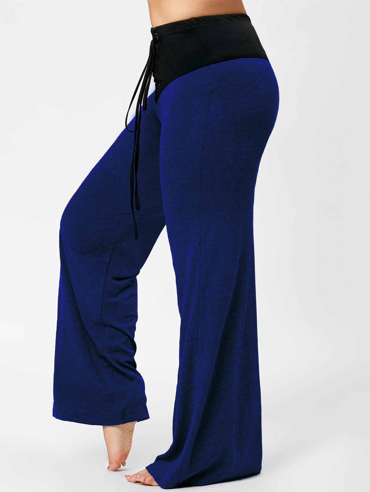 Cheap Lace-up Plus Size Two Tone Flare Pants