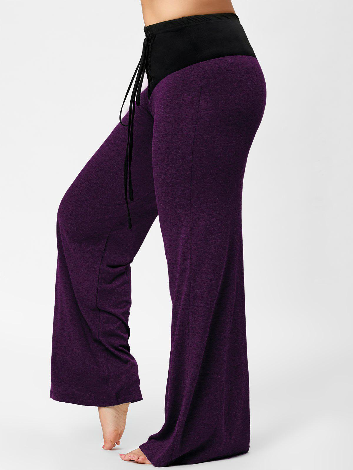 Lace-up Plus Size Two Tone Flare PantsWOMEN<br><br>Size: 4XL; Color: PURPLE; Style: Casual; Length: Overlength; Material: Polyester,Spandex; Fit Type: Regular; Waist Type: High; Closure Type: Elastic Waist; Pattern Type: Others; Pant Style: Flare Pants; Weight: 0.3830kg; Package Contents: 1 x Pants;
