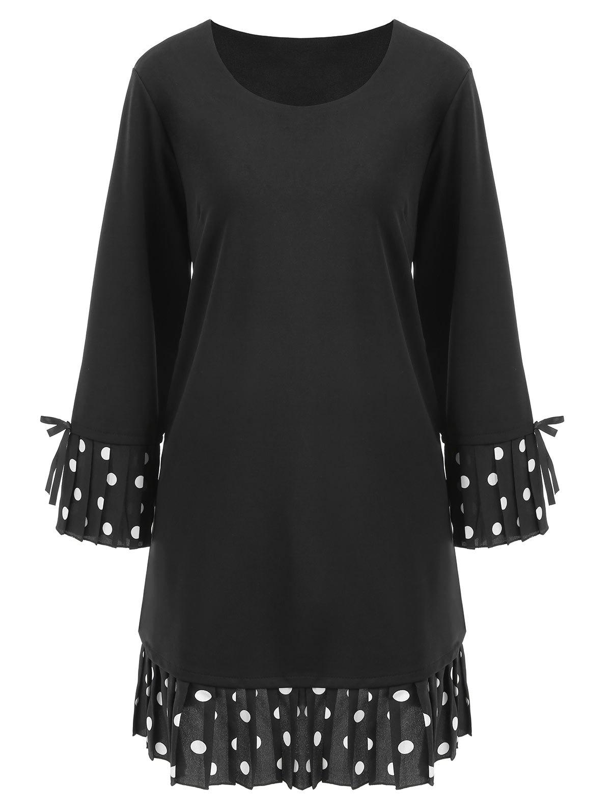 Plus Size Polka Dot Bell Sleeve DressWOMEN<br><br>Size: 4XL; Color: BLACK; Style: Casual; Material: Cotton,Polyester; Silhouette: Straight; Dresses Length: Knee-Length; Neckline: Round Collar; Sleeve Length: Long Sleeves; Embellishment: Bowknot,Pleated; Pattern Type: Polka Dot; With Belt: No; Season: Fall; Weight: 0.5550kg; Package Contents: 1 x Dress;