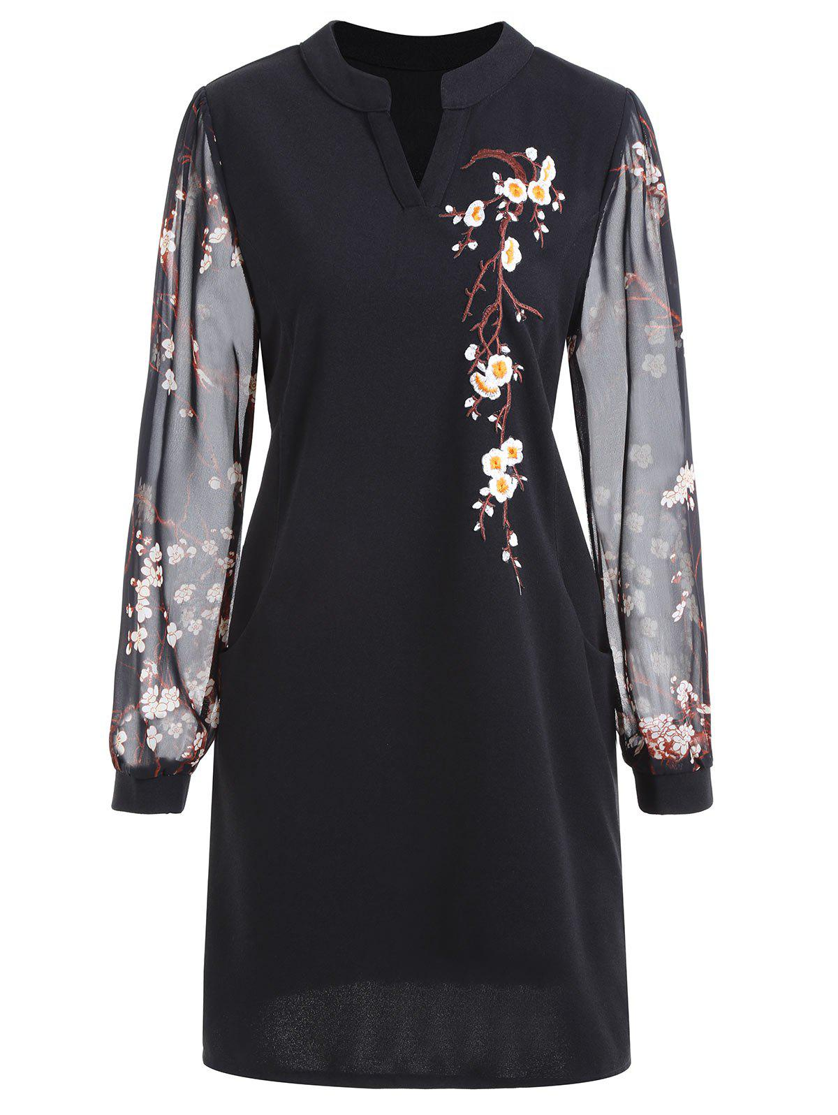 Floral Embroidery Plus Size Mini DressWOMEN<br><br>Size: 5XL; Color: BLACK; Style: Casual; Material: Polyester; Silhouette: Bodycon; Dresses Length: Mini; Neckline: Stand; Sleeve Length: Long Sleeves; Embellishment: Embroidery; Pattern Type: Floral; With Belt: No; Season: Fall; Weight: 0.3450kg; Package Contents: 1 x Dress;