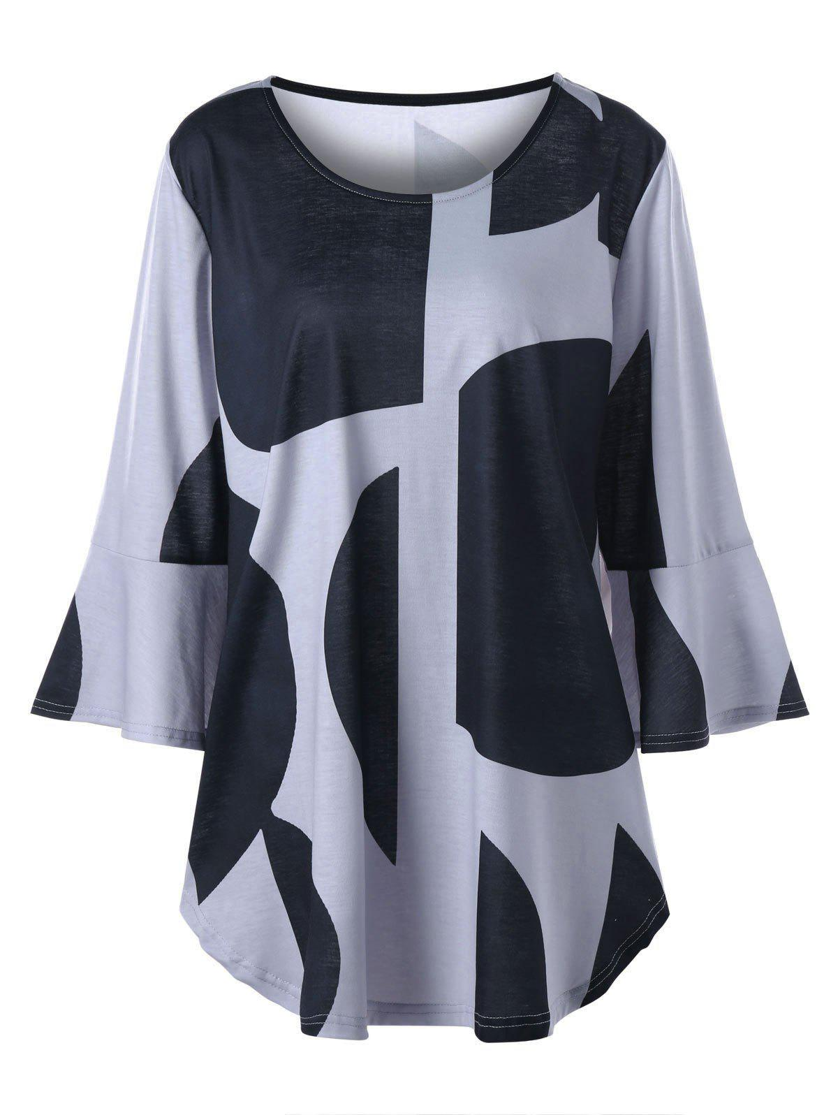 Plus Size Flare Sleeve Curved Hem TopWOMEN<br><br>Size: 5XL; Color: BLACK AND GREY; Material: Polyester,Spandex; Shirt Length: Long; Sleeve Length: Full; Collar: Scoop Neck; Style: Casual; Season: Fall,Spring; Pattern Type: Others; Weight: 0.3000kg; Package Contents: 1 x Top;