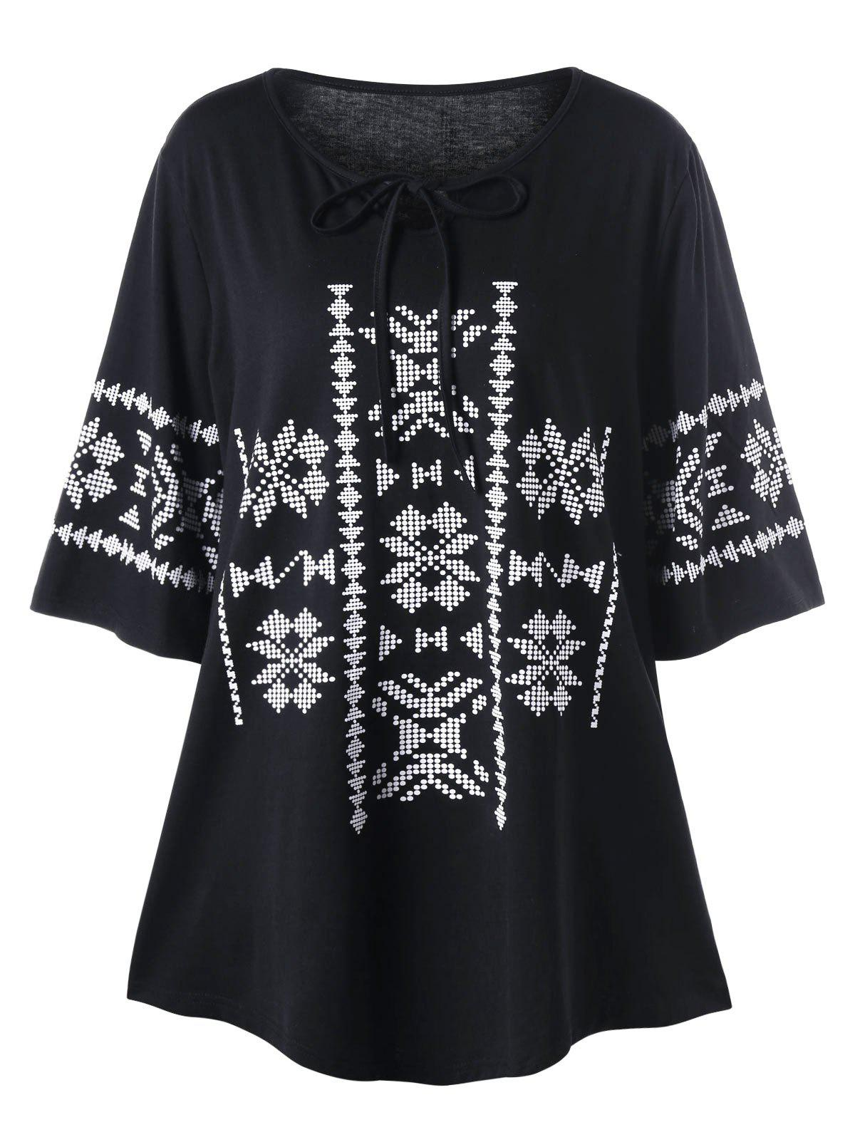 Plus Size Tie Front Monochrome TopWOMEN<br><br>Size: 5XL; Color: BLACK; Material: Polyester,Spandex; Shirt Length: Long; Sleeve Length: Half; Collar: Round Neck; Style: Casual; Season: Fall,Spring; Pattern Type: Tribal Print; Weight: 0.3000kg; Package Contents: 1 x Top;