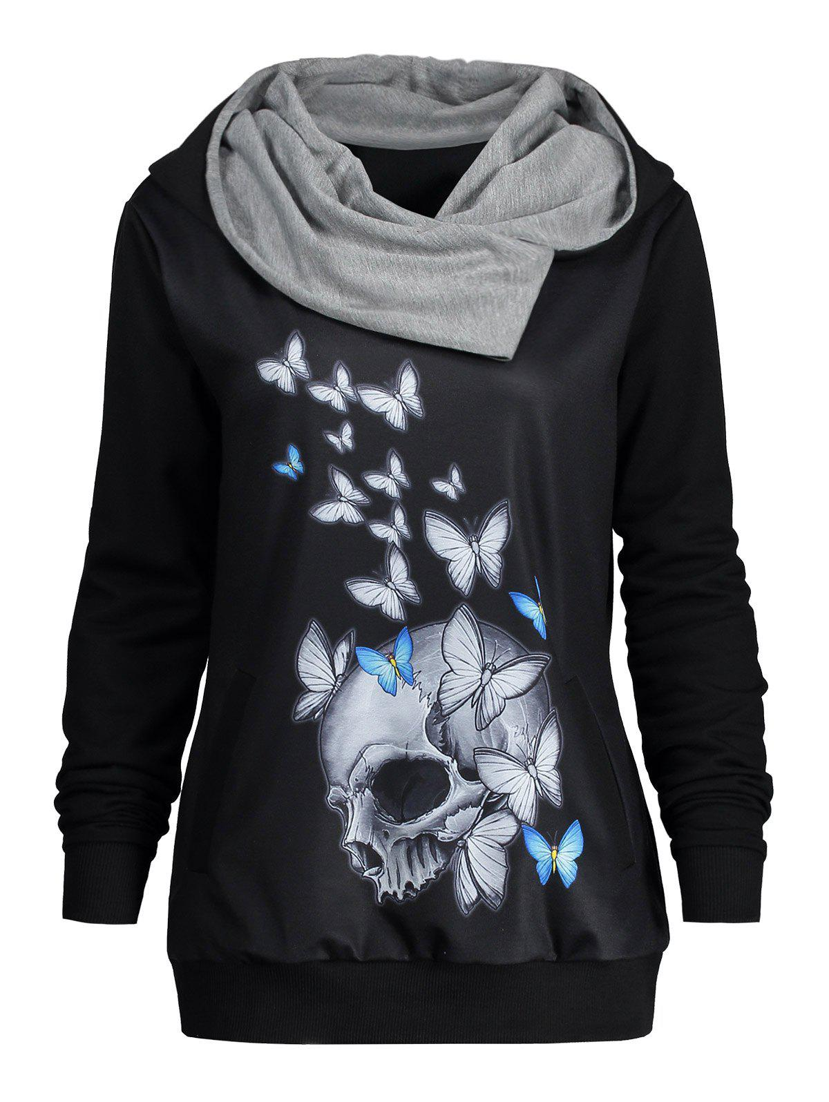 Halloween Butterfly Skull Print Heaps Collar HoodieWOMEN<br><br>Size: L; Color: BLACK; Material: Polyester; Shirt Length: Regular; Sleeve Length: Full; Style: Fashion; Pattern Style: Print,Skulls; Season: Fall,Spring,Winter; Weight: 0.5700kg; Package Contents: 1 x Hoodie;