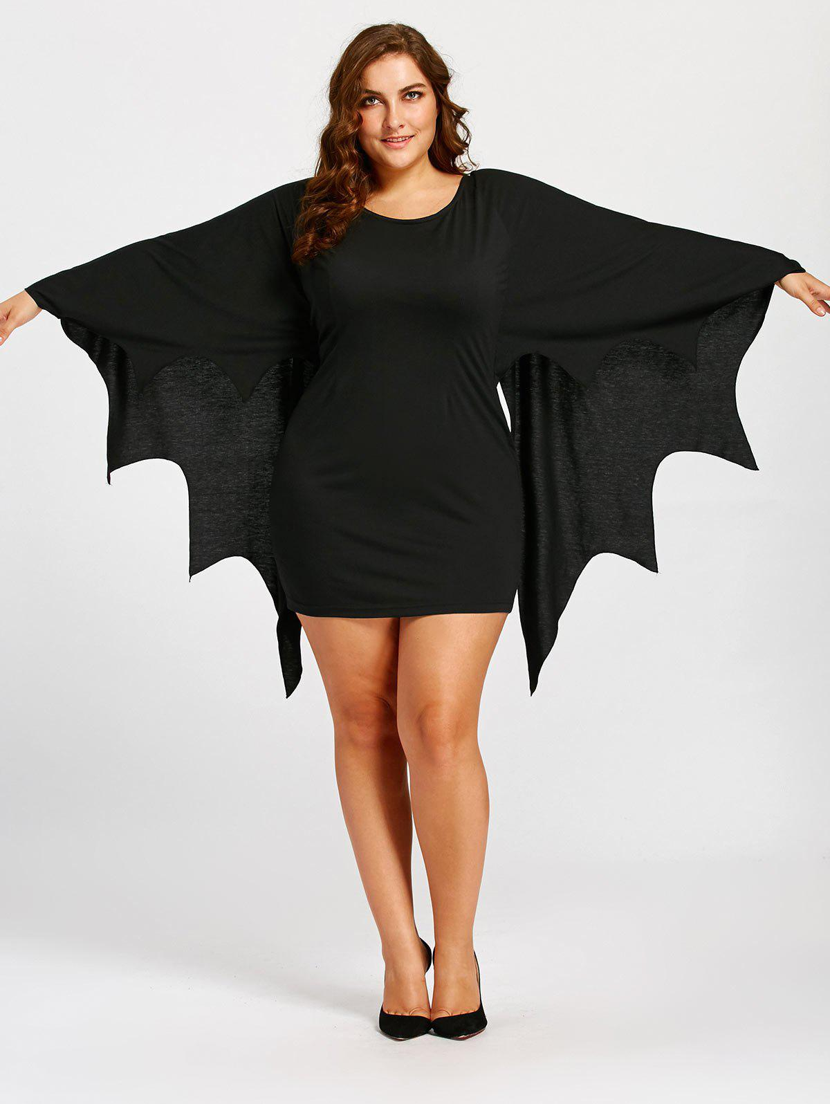 Bat Wings Plus Size Tunic DressWOMEN<br><br>Size: 4XL; Color: BLACK; Style: Novelty; Material: Polyester,Spandex; Silhouette: Straight; Dresses Length: Mini; Neckline: Round Collar; Sleeve Type: Batwing Sleeve; Sleeve Length: 3/4 Length Sleeves; Waist: Natural; Pattern Type: Others; Elasticity: Elastic; With Belt: No; Season: Fall,Spring; Weight: 0.4600kg; Package Contents: 1 x Dress;
