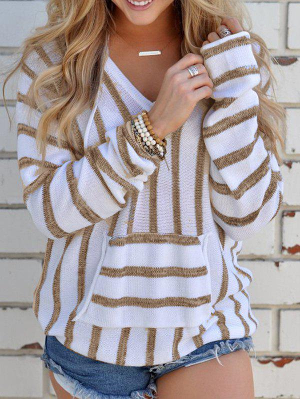 Unique V Neck Striped Sweater with Pocket