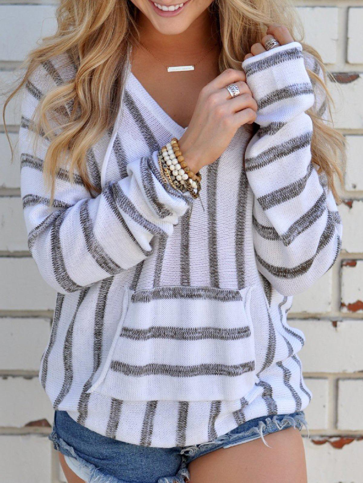 V Neck Striped Sweater with PocketWOMEN<br><br>Size: XL; Color: GRAY; Type: Pullovers; Material: Polyester; Sleeve Length: Full; Collar: V-Neck; Style: Fashion; Pattern Type: Striped; Embellishment: Pockets; Season: Fall,Spring; Weight: 0.3700kg; Package Contents: 1 x Sweater;