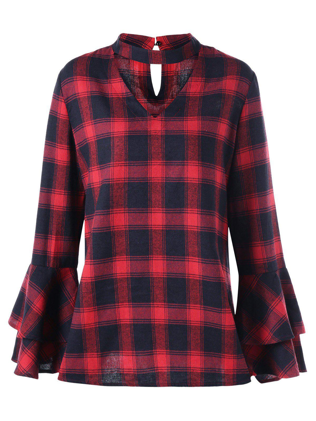 Plus Size Plaid Bell Sleeve Choker BlouseWOMEN<br><br>Size: 3XL; Color: RED WITH BLACK; Material: Polyester,Rayon; Shirt Length: Long; Sleeve Length: Full; Collar: High Collar; Style: Fashion; Season: Fall,Spring; Pattern Type: Plaid; Weight: 0.3100kg; Package Contents: 1 x Blouse;