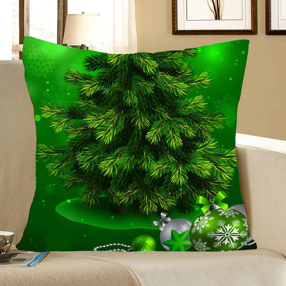 Online Green Christmas Tree Pattern Linen Pillow Case