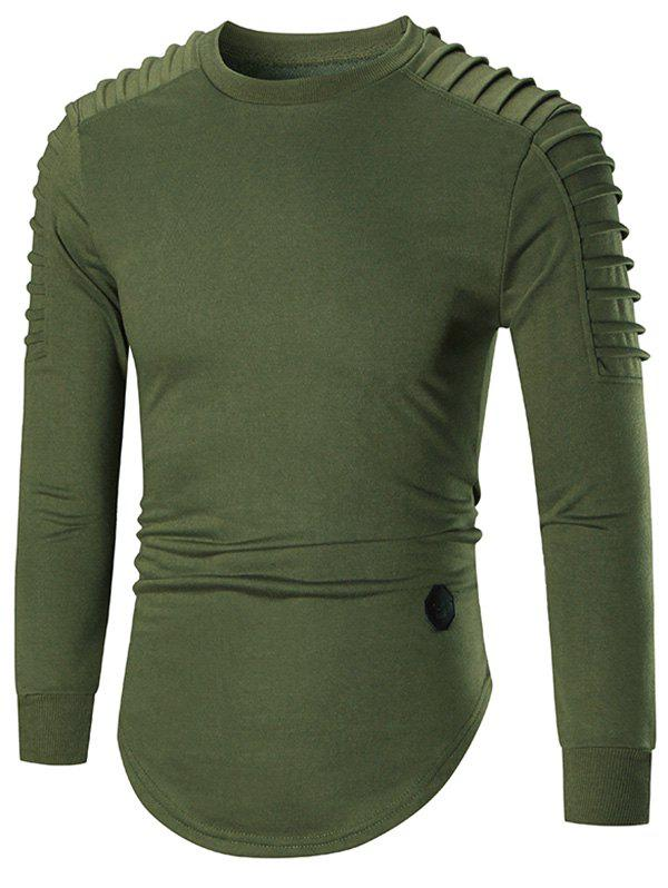 Ruched Patched Curved Hem Long Sleeve T-shirtMEN<br><br>Size: M; Color: GREEN; Material: Cotton,Spandex; Sleeve Length: Full; Collar: Crew Neck; Style: Fashion; Embellishment: Appliques; Season: Fall,Spring,Summer; Weight: 0.5400kg; Package Contents: 1 x T-shirt;