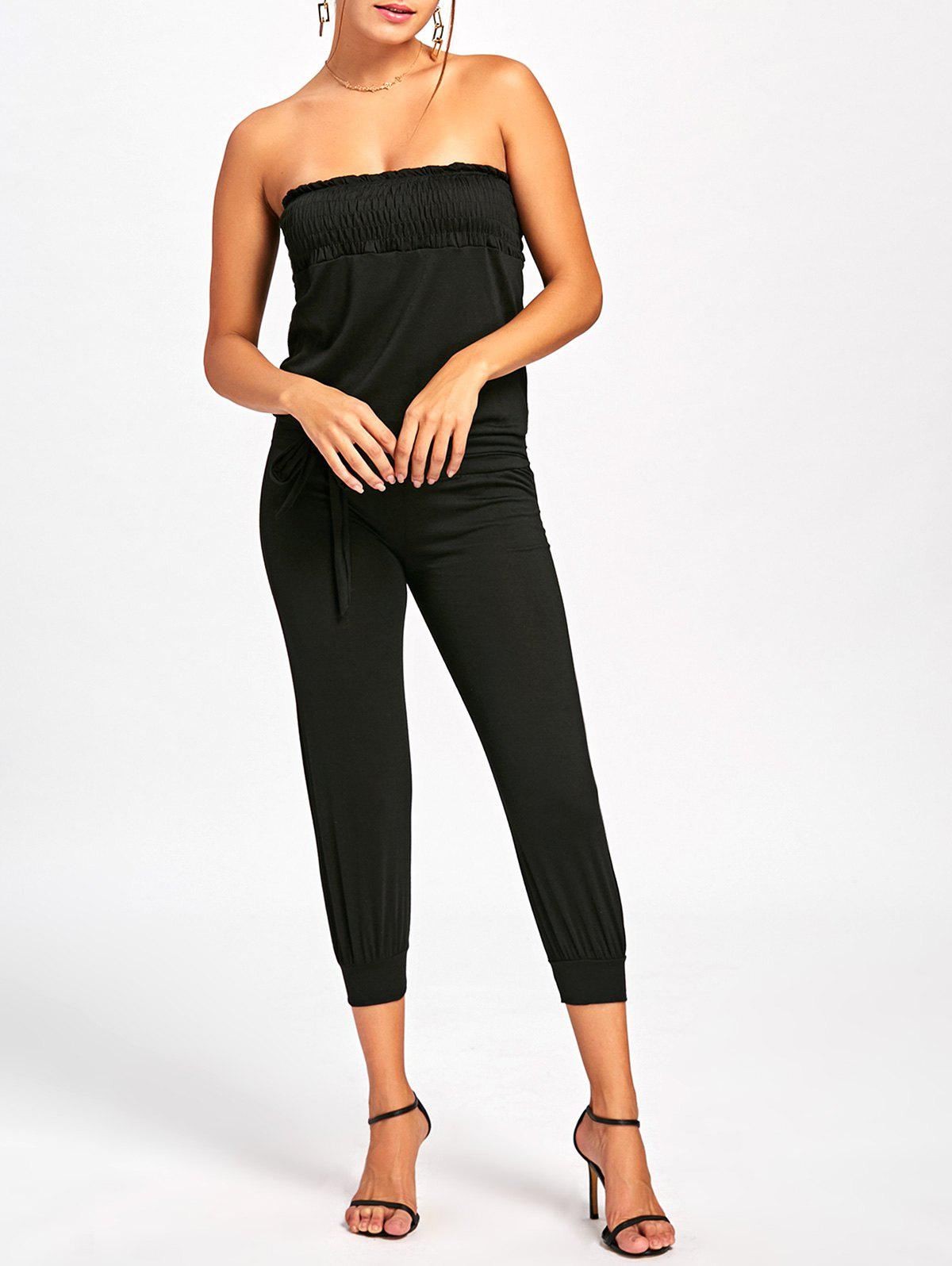 Latest Strapless Belted Cropped Jumpsuit