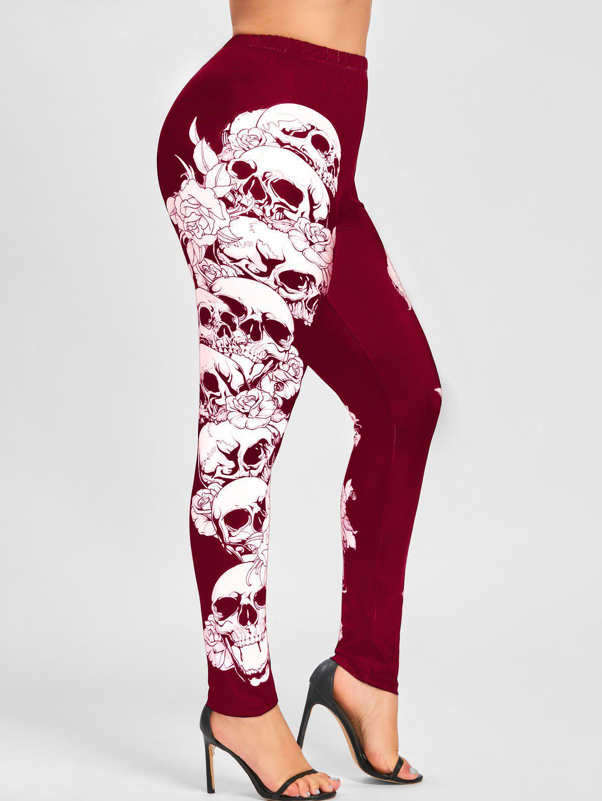 Halloween Plus Size Skulls Monochrome LeggingsWOMEN<br><br>Size: 2XL; Color: RED; Style: Casual; Length: Normal; Material: Polyester; Fit Type: Skinny; Waist Type: Mid; Closure Type: Elastic Waist; Pattern Type: Skulls; Pant Style: Pencil Pants; Weight: 0.2400kg; Package Contents: 1 x Leggings;