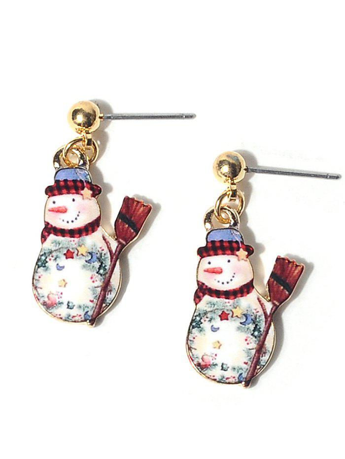 Christmas Alloy Ball Snowman EarringsJEWELRY<br><br>Color: COLORMIX; Earring Type: Drop Earrings; Gender: For Women; Style: Trendy; Shape/Pattern: Ball; Length: 3CM; Weight: 0.0300kg; Package Contents: 1 x Earring (Pair);