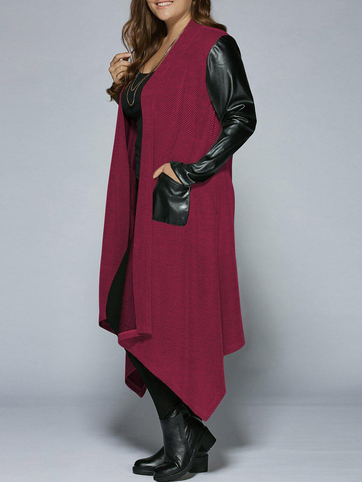 Plus Size PU Leather Trim Longline Asymmetrical CoatWOMEN<br><br>Size: 4XL; Color: RED; Clothes Type: Trench; Material: Rayon; Type: Asymmetric Length; Shirt Length: Long; Sleeve Length: Full; Collar: Collarless; Pattern Type: Solid; Embellishment: Pockets; Style: Fashion; Season: Fall,Spring; Weight: 0.5160kg; Package Contents: 1 x Coat;