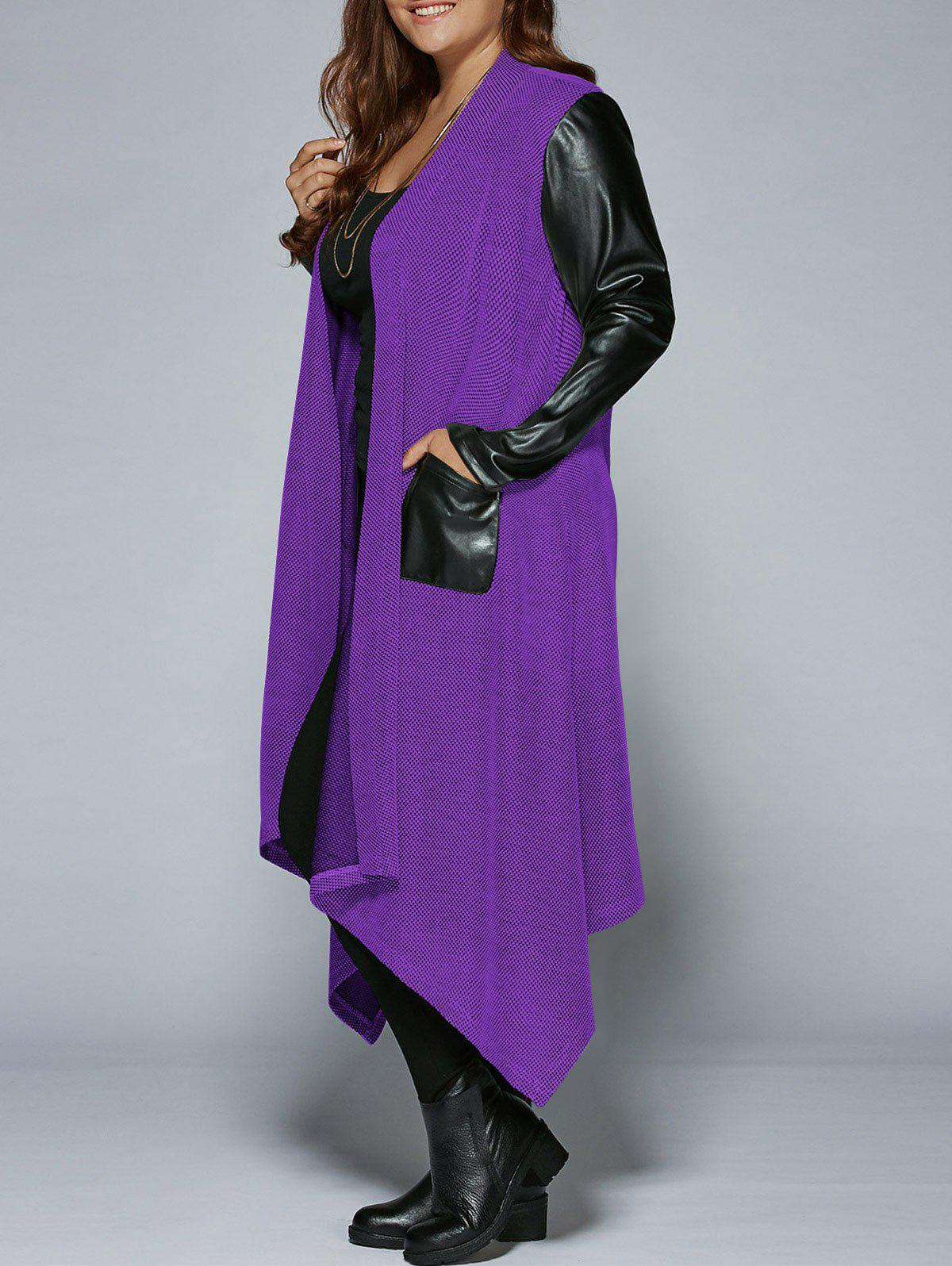 Plus Size PU Leather Trim Longline Asymmetrical CoatWOMEN<br><br>Size: 5XL; Color: PURPLE; Clothes Type: Trench; Material: Rayon; Type: Asymmetric Length; Shirt Length: Long; Sleeve Length: Full; Collar: Collarless; Pattern Type: Solid; Embellishment: Pockets; Style: Fashion; Season: Fall,Spring; Weight: 0.5160kg; Package Contents: 1 x Coat;