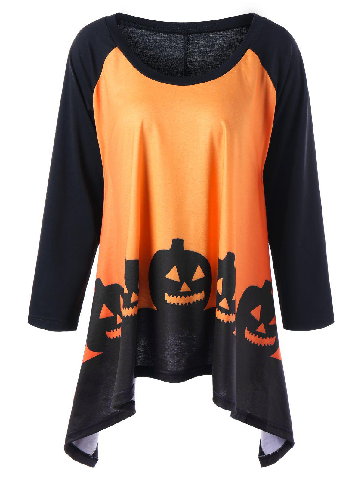 Plus Size Halloween Two Tone TopWOMEN<br><br>Size: 3XL; Color: ORANGE YELLOW; Material: Polyester,Spandex; Shirt Length: Regular; Sleeve Length: Full; Collar: Scoop Neck; Style: Casual; Season: Fall,Spring; Pattern Type: Others; Weight: 0.3000kg; Package Contents: 1 x Top;