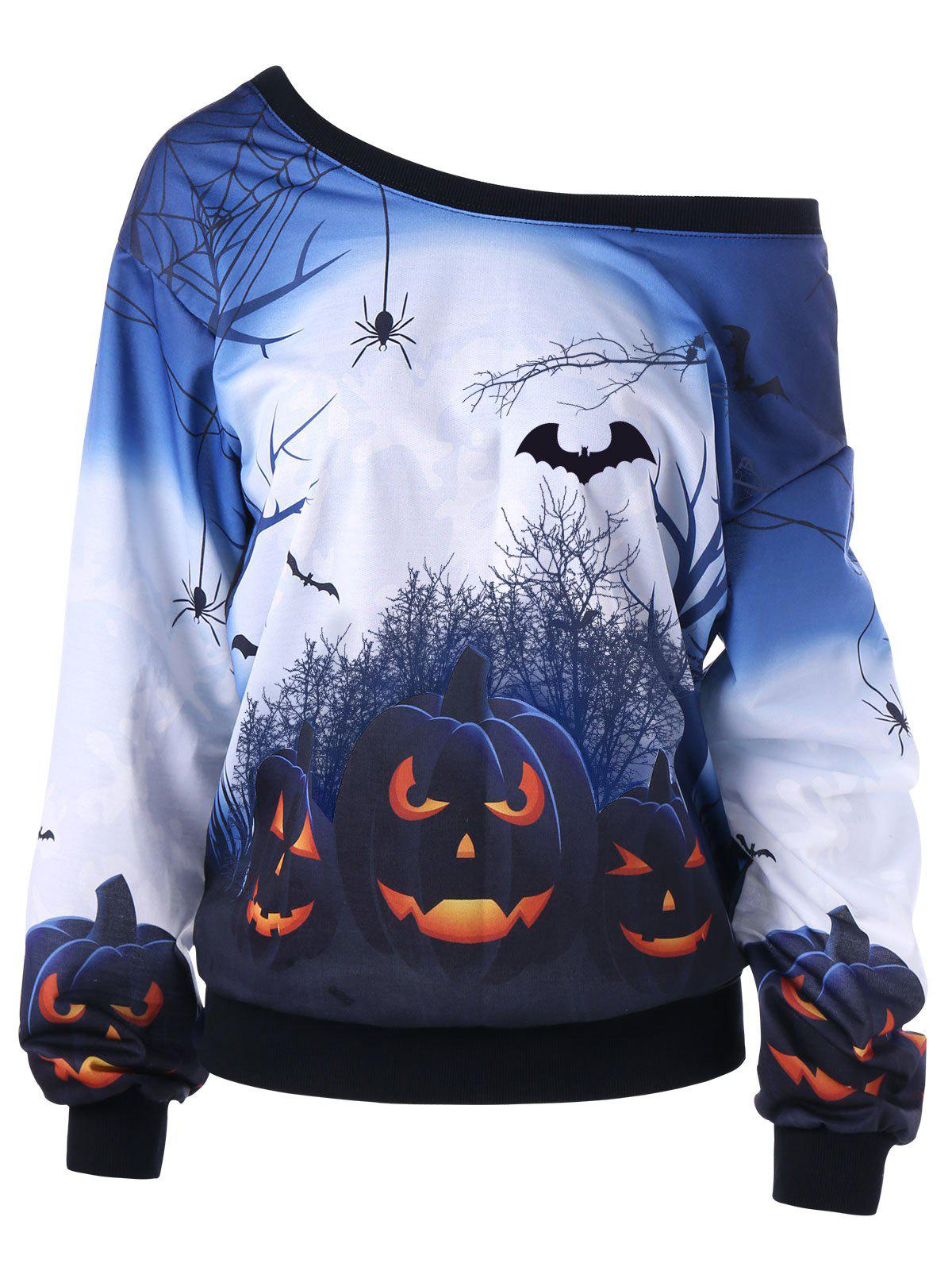 Affordable Halloween Pumpkin Print Plus Size Sweatshirt