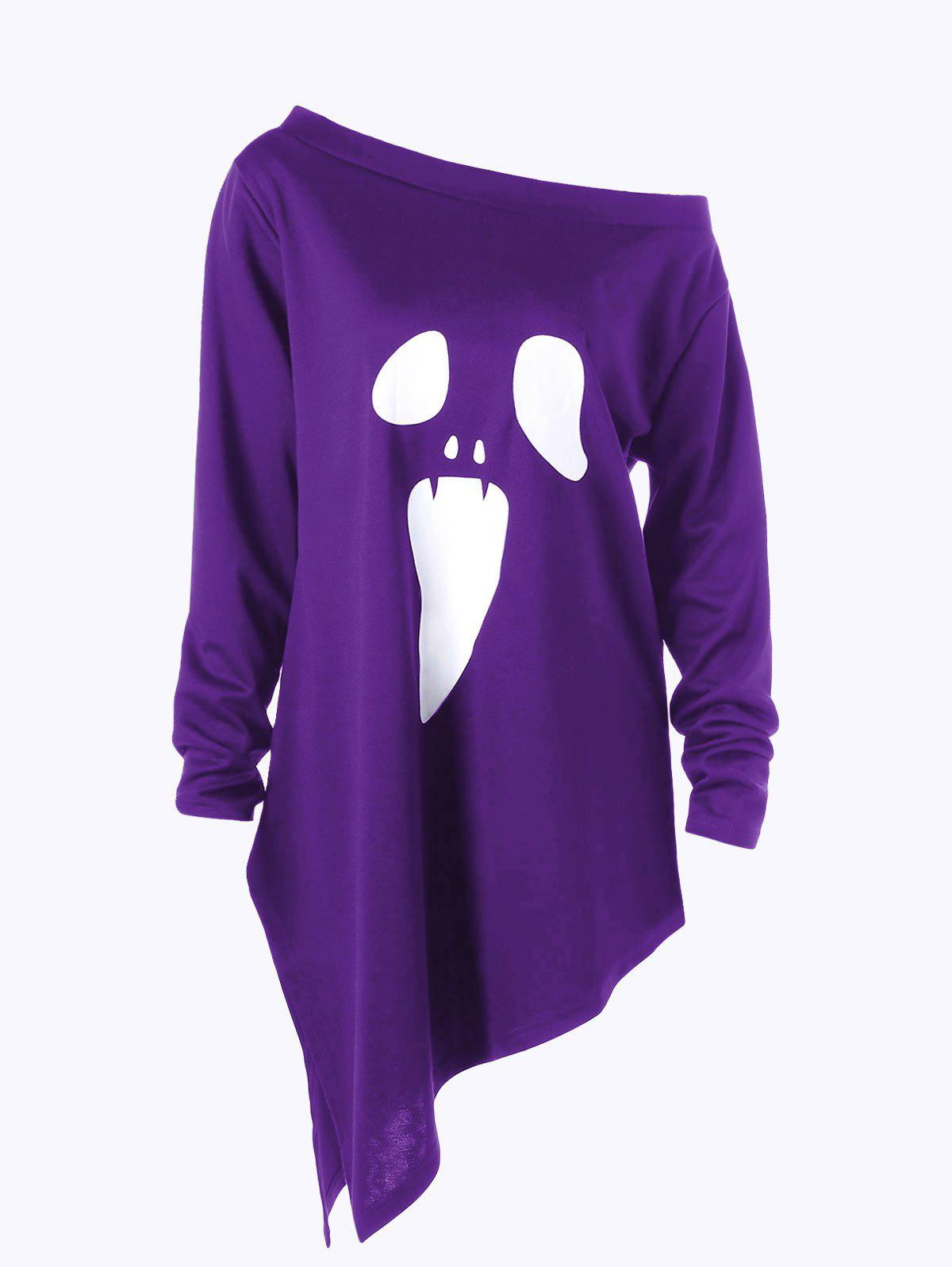 Store Halloween Plus Size Graphic Asymmetric Skew Neck Sweatshirt